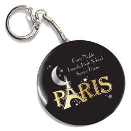 Paris Sparkle Round Key Chain