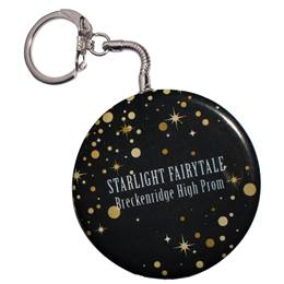 Glowing Golden Stars Round Key Chain
