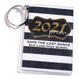 Full-color Rectangle Key Chain - Gold Glitter Prom 2021