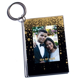 Gold Rain Glitter Photo Key Chain