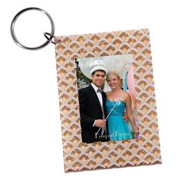 Golden Glitter Curves Photo Key Chain