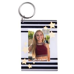 Black and White Stripes and Stars Photo Key Chain