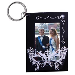 Silver Rhinestone Mask Photo Key Chain