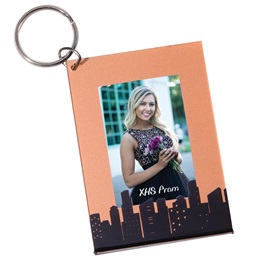 Cool Copper Skyline Photo Key Chain