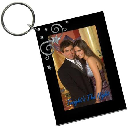 Black Acrylic Key Tag with Corner Stars & Swirls