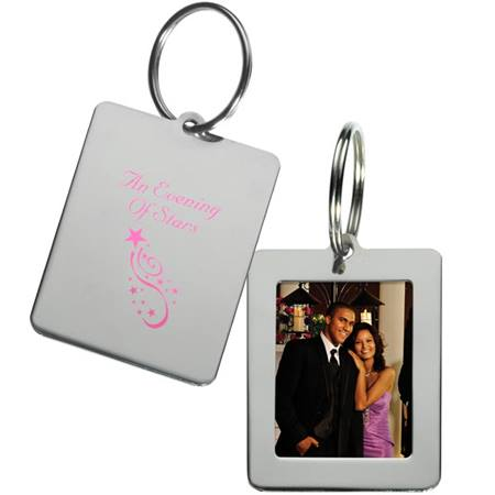 2 3/4 in. Polished Silver Frame Key Tag