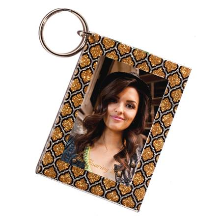 Glitter Spades Photo Key Chain