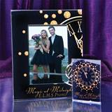 Full-Color Gold Clock Frame and Photo Key Chain Set
