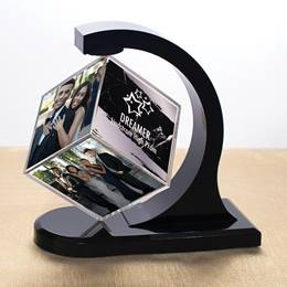 Silver and Black Marble Floating Photo Cube