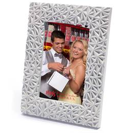 "White Textured Plastic 4 x 6"" Photo Frame"""
