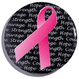 Breast Cancer Awareness Button-Black With Pink Ribbon