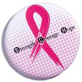 Breast Cancer Awareness Button--Strength, Hope, Courage