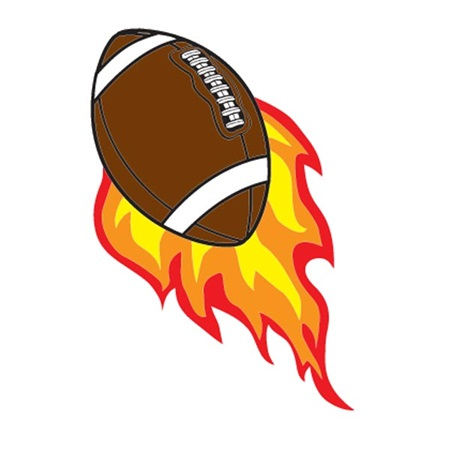 Football with Flames Stick-a-Decal