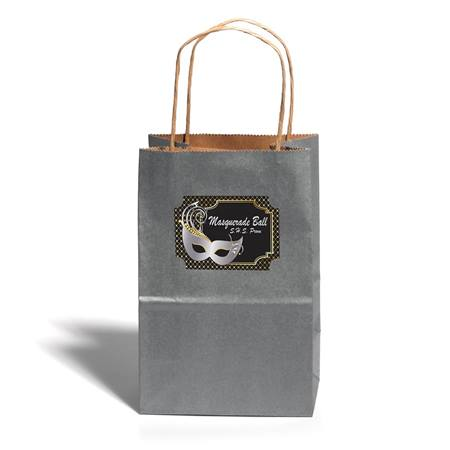 Small Silver Gift Bag With Rectangle Sticker