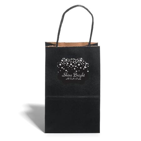 Small Black Gift Bag With Scallop Sticker