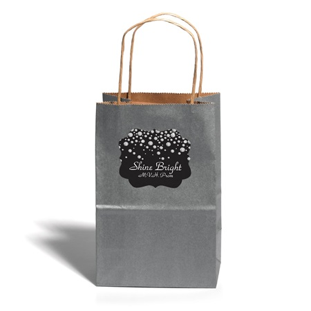 Small Silver Gift Bag With Scallop Sticker