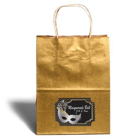 Large Gold Gift Bag With Rectangle Sticker