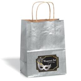 Large Silver Gift Bag With Rectangle Sticker