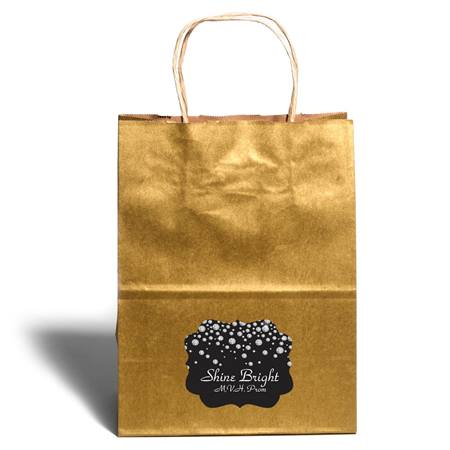 Large Gold Gift Bag With Scallop Sticker