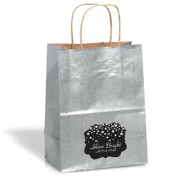 Large Silver Gift Bag With Scallop Sticker