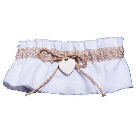 Burlap Trim Garter With Heart Charm