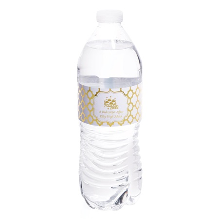 Metallic Foil Water Bottle Labels - Arabesco