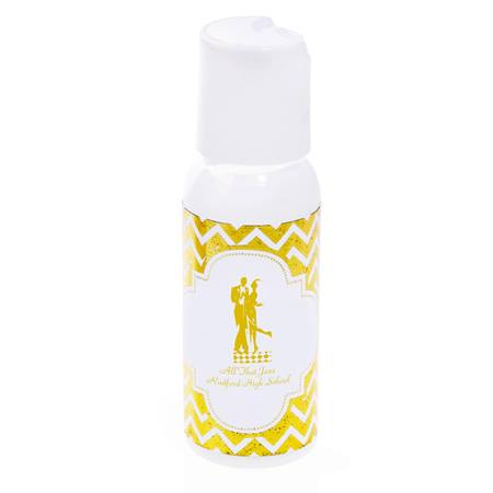 Mini Bottle of Lotion With Metallic Foil Label - Gold Chevrons
