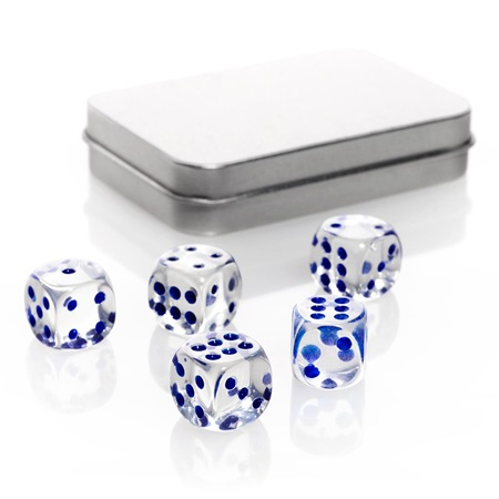 Clear Dice Set in Metal Case