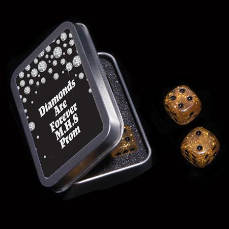 Gold Glitter Dice Set in Metal Case
