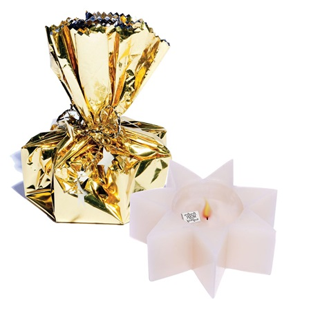 Wrapped Star Treasure Candle - Gold