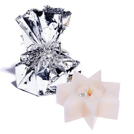 Wrapped Star Treasure Candle - Silver