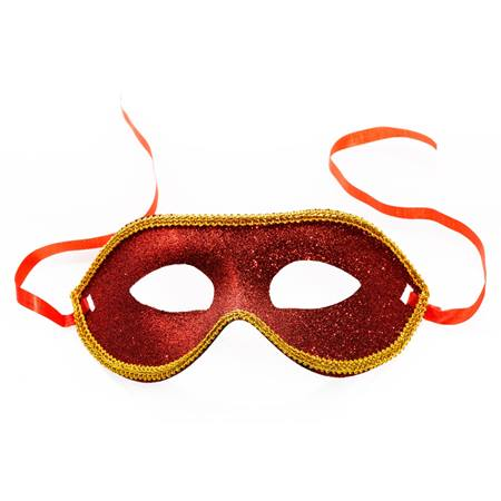 Red and Gold Glitter Mask