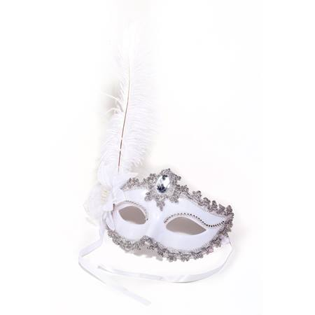 White/Silver Jewel Feather Mask