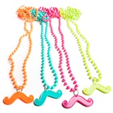 Neon Mustache Bead Necklaces