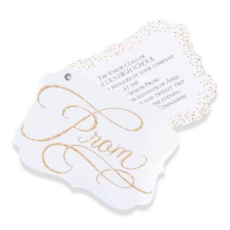 "Gold ""Prom"" Glitter Flip-open Invitation"
