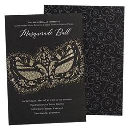 Black Mask Foil Invitations