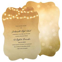 Gold Light Strings Invitations