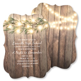 Woodgrain & Lights Invitations