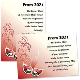 Full-color 5x7 Invitation - Scarlet Red Mask