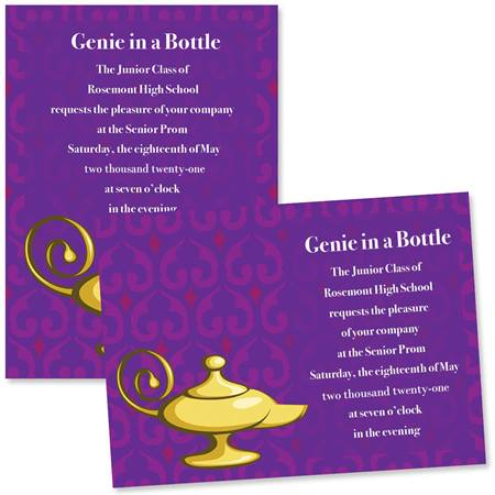 Full Color 5x7 Invitation Genie Lamp Prom Nite