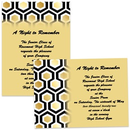 Full-color 5x7 Invitation - Gold Honeycomb