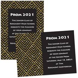 5x7 Invitation - Gold and Black Diamonds