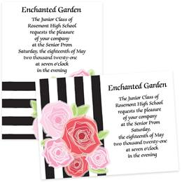 5x7 Invitation - Stripes and Flowers