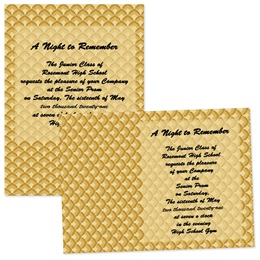 Full-color 5x7 Invitation - Golden Scallops