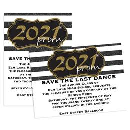 Gold 2021 Prom Crest 5x7 Invitation