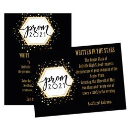 Golden Stars Prom 2021 5x7 Invitation
