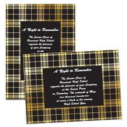 "Black & Gold Plaid 4"" x 6"" Invitation"