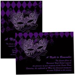 4x6 Full-color Custom Invitations - Purple Mask & Diamonds
