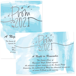 4x6 Full-color Custom Invitations - Prom Blue Watercolor