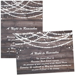 4x6 Full-color Custom Invitations - Pearls on Wood